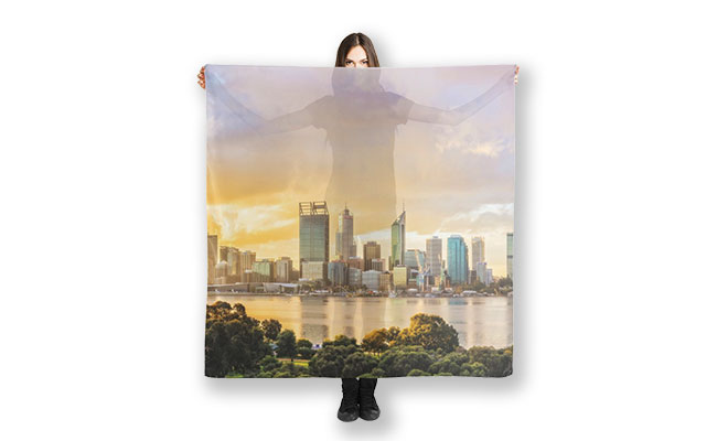 Afternoon City Glow, Perth Scarf designed by Dave Catley, Fine Art Photographer, available in our MADAboutWA Store.