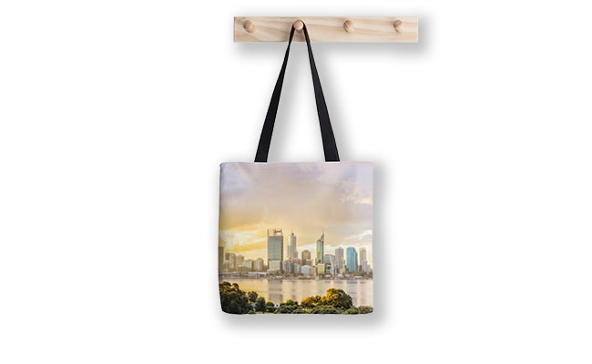 Afternoon City Glow, Perth Tote Bag designed by Dave Catley, Fine Art Photographer, available in our MADAboutWA Store.