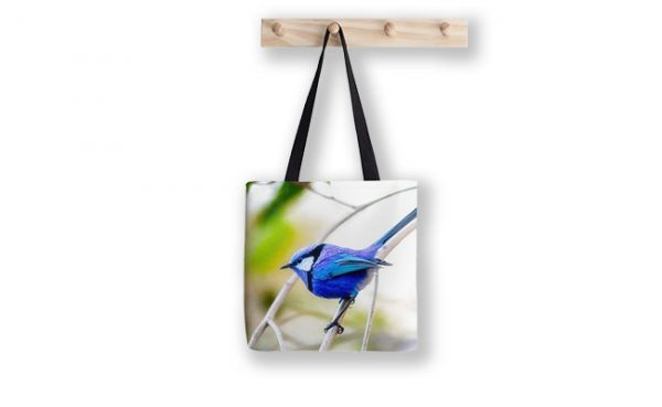Blue Wren, Bushy Lakes Tote Bag designed by Dave Catley, Fine Art Photographer, available from our MADAboutWA store.