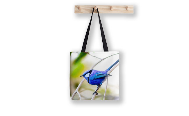 Blue Wren, Bushy Lakes Tote Bag design by Dave Catley featuring a Blue Wren from Bushy Lakes in Margaret River available from our MADCAT.RedBubble.com store.