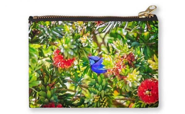 Blue Wren in a Bottle Brush, Bushy Lakes, Margaret River Studio Pouch design by Dave Catley, Fine Art Photographer