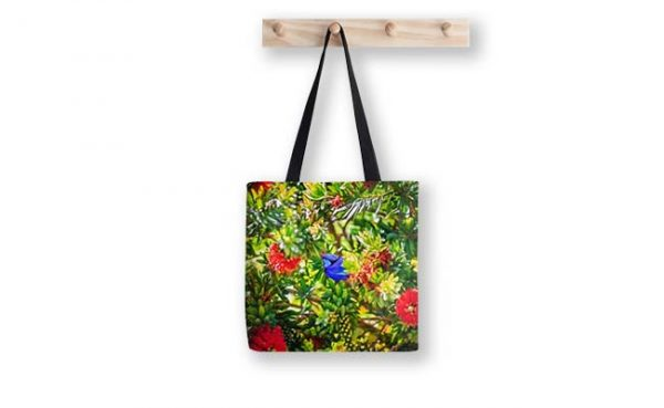Blue Wren in a Bottle Brush, Bushy Lakes, Margaret River Tote Bag design by Dave Catley, Fine Art Photographer available in our MADAboutWA Store.