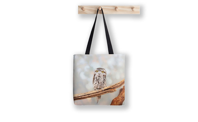 E.T. the Tawny Frogmouth, Native Animal Rescue Tote Bag design by Dave Catley now in stock.