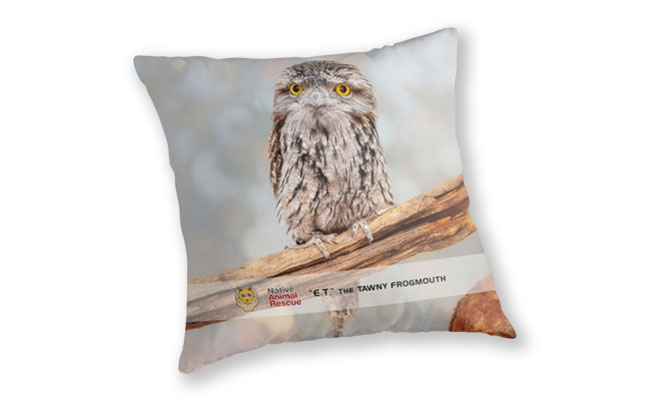 ET Wide Awake, Native Animal Rescue Throw Pillow featuring E.T. Wide Awake, Native Animal Rescue available from our MADCAT.RedBubble.com store.
