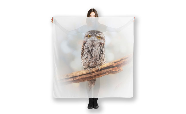 E.T. the Tawny Frogmouth, Native Animal Rescue Scarf designed by Dave Catley Fine Art Photographer available in our MADAboutWA Store.
