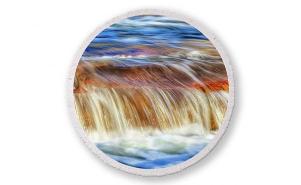 Ebb and Flow, Noble Falls Round Beach Towel design by Dave Catley featuring Noble Falls winter water flow available from our Dave-Catley.pixels.com store.