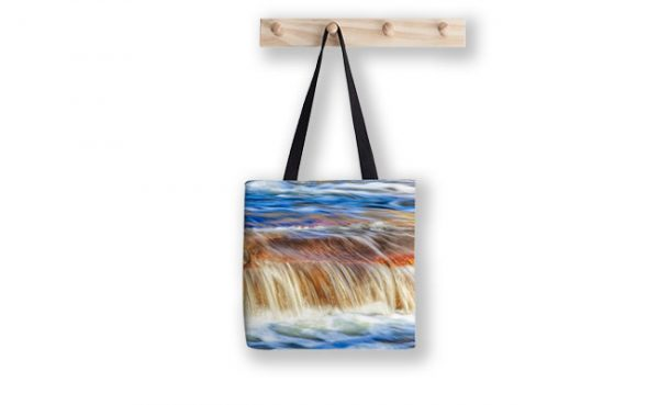 Ebb and Flow, Noble Falls Tote Bag design by Dave Catley featuring Noble Falls winter water flow available from our Dave-Catley.pixels.com store.