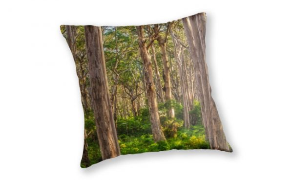 Forest Twilight, Boranup Forest Throw Pillow design by Dave Catley featuring the Karri Trees of Boranup Forest, Margaret River available from our MADCAT.RedBubble.com store.