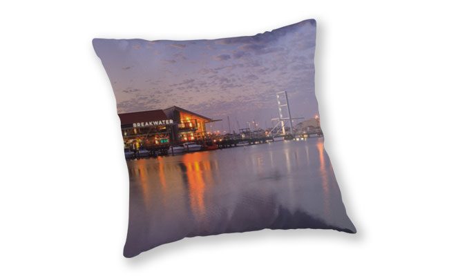 Harbour Lights, Hillarys Boat Harbour Throw Pillow design by Dave Catley featuring Harbour Lights at Sunset, Hillarys Boat Harbour available from our MADCAT.RedBubble.com store.