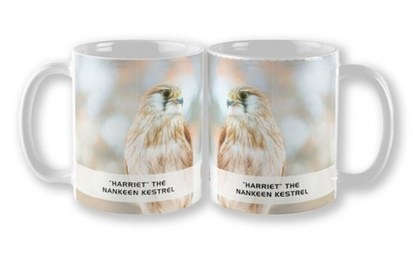 Harriet the Nankeen Kestrel, Native Animal Rescue Mug featuring Harriet the Nankeen Kestrel, Native Animal Rescue available from our MADCAT.RedBubble.com store.