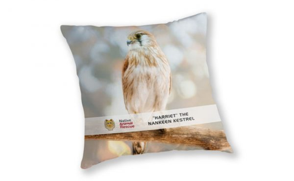 Harriet the Nankeen Kestrel, Native Animal Rescue Throw Pillow featuring Harriet the Nankeen Kestrel, Native Animal Rescue available from our MADCAT.RedBubble.com store.