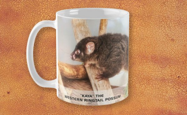 Kaya the Ringtail Possum, Native Animal Rescue Mug featuring Kaya the Ringtail Possum, Native Animal Rescue available from our MADAboutWA store.