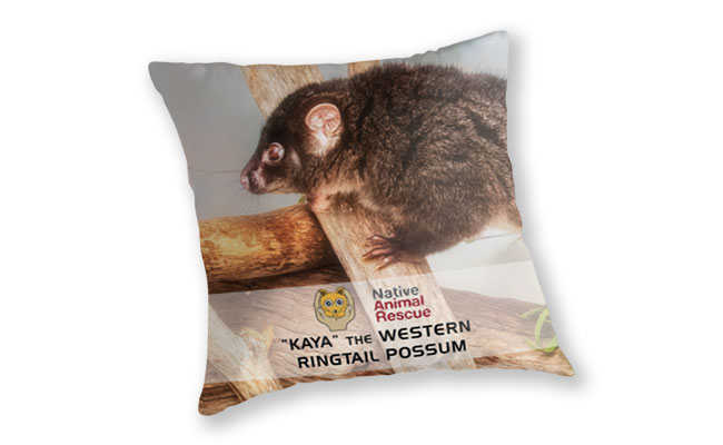 Kaya the Ringtail Possum, Native Animal Rescue Throw Pillow featuring Kaya the Ringtail Possum, Native Animal Rescue available from our MADCAT.RedBubble.com store.