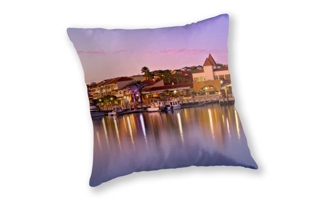 Marina Sunset, Mindarie Marina Throw Pillow design by Dave Catley featuring a Marina Sunset taken at Mindarie Marina available from our MADCAT.RedBubble.com store.