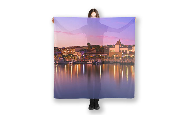 MAD About WA inspired Sunset Marina scarf designed by Dave Catley of MADCAT Photography, available from our MADAboutWA store.