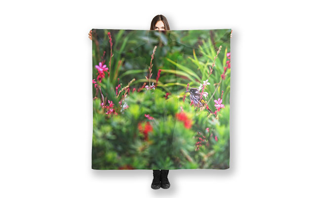 New Holland Honey Eater, Bushy Lakes, Margaret River Scarf designed by Dave Catley, Fine Art Photographer, available in our MADAboutWA Store.