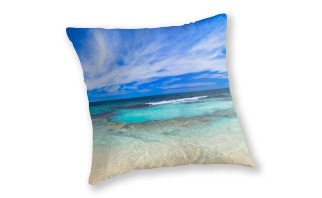 Ocean Tranquility, Yanchep Throw Pillow design by Dave Catley featuring Ocean Tranquility near the Spot at Yanchep available from our MADCAT.RedBubble.com store.
