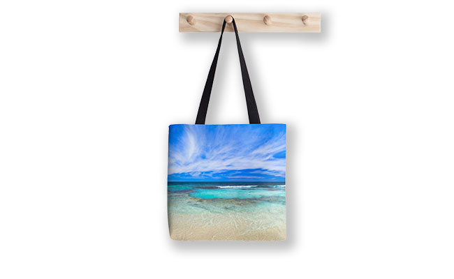 Ocean Tranquility, Yanchep Tote Bag design by Dave Catley featuring Ocean Tranquility near the Spot at Yanchep available from our MADCAT.RedBubble.com store.