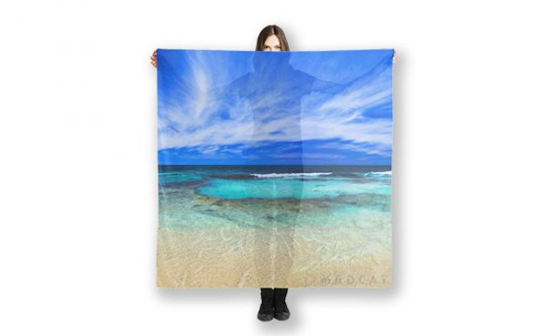 Ocean Tranquility Yanchep Beach, Perth, Western Australia printed on a scarf availabel at our RedBubble Store