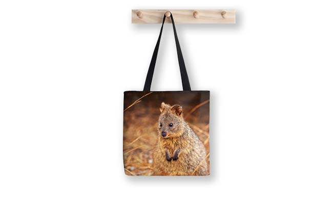 Quokka Cuteness, Rottnest Island, Perth Tote Bag design by Dave Catley Fine Art Photographer available in our MADAboutWA Shop