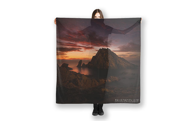 MAD About WA inspired Red Rock Scarf of Sugarloaf Rock, Margaret River, Western Australia designed by Dave Catley, Fine Art Photographer, available from our MADAboutWA store