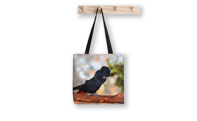 Red-Tailed Black Cockatoo, Native Animal Rescue Tote Bag designed by Dave Catley, Fine Art Photographer, available from our madaboutWA Store.