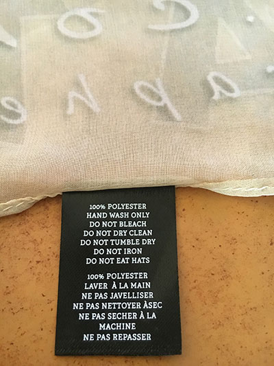 RedBubble Scarf Care Instructions