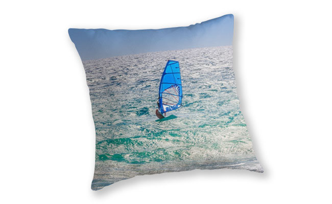 Ride the Waves, Scarborough Beach Throw Pillow design by Dave Catley featuring Wind surfing the waves, Scarborough available from our MADCAT.RedBubble.com store.