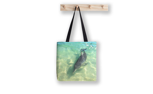 Samu 2 , Monkey Mia, Shark Bay Tote Bag designed by Dave Catley, Fine Art Photographer, available from our MADAboutWA Store.