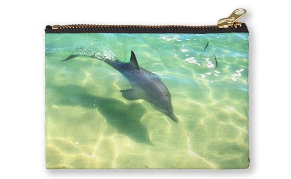 Samu the Baby Dolphin 3, Monkey Mia, Shark Bay Studio Pouch featuring Samu the Baby Dolphin from Monkey Mia available from our MADAboutWA store.