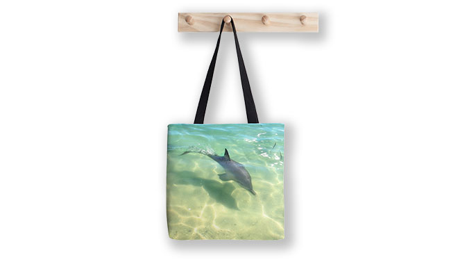 Samu the Baby Dolphin 3, Monkey Mia, Shark Bay Tote Bag designed by Dave Catley, Fine Art Photographer, available from our MADAboutWA Store.