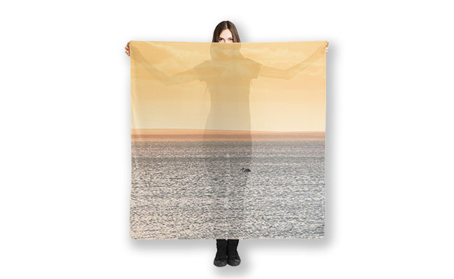 Solitude Monkey Mia, Shark Bay Scarf designed by Dave Catley, Fine Art Photographer, available from our MADAboutWA store.