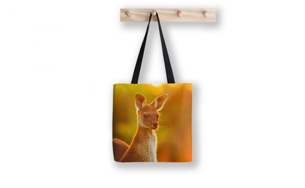 Sunset Joey, Yanchep National Park Tote Bag design by Dave Catley featuring Alert Joey in the Yanchep National Park available from our MADCAT.RedBubble.com store.