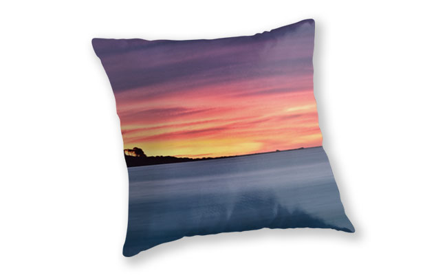 Sunset Peninsular, Bunker Bay Throw Pillow design by Dave Catley featuring the Bunker Bay peninsular at sunset available from our MADCAT.RedBubble.com store.