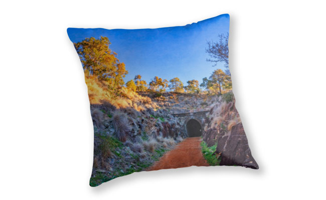 Swan View Railway Tunnel Throw Pillow design by Dave Catley featuring Swan View Railway Tunnel, John Forrest National Park available from our MADCAT.RedBubble.com store.